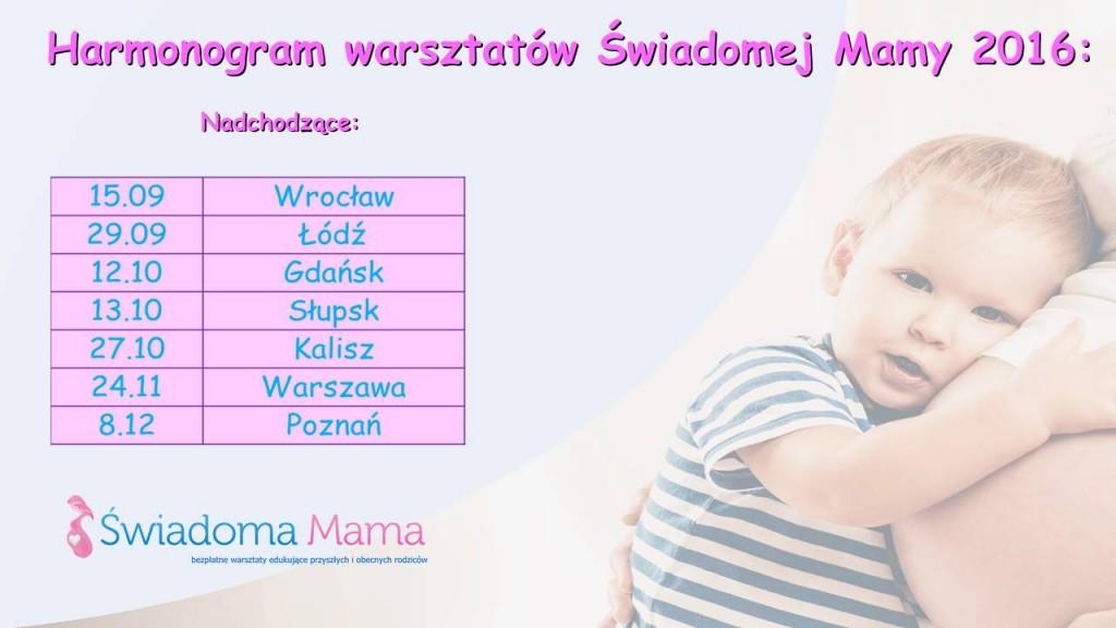 Harmonogram Świadoma Mama 2016